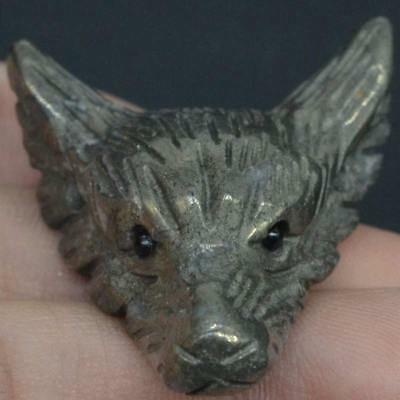 Wolf Head Statue Pyrite Animal Pendant Hand Carved Stone Necklace Jewelry