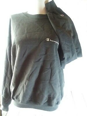 Vintage Champion Spell Out Crewneck Sweatshirt Black Girls L  /women's s Sweats