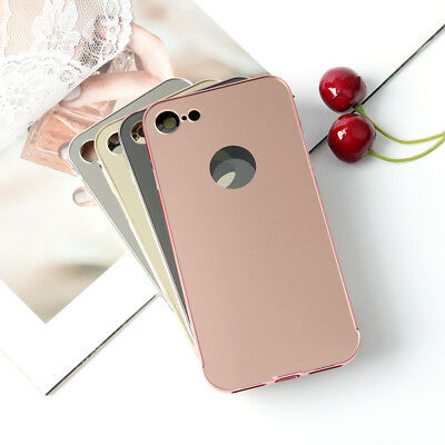 Mirror alloy frame+acrylic back cover Ultra Thin Metal Phone Case For iPhone 8