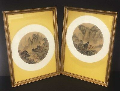 Pair Of Antique Chinese Landscape Paintings On Silk - Framed And Signed