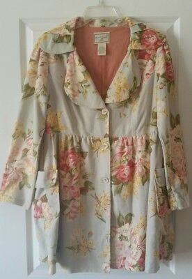 April Cornell Coat ~ Coat-dress Romantic Pastel English Garden Floral Print SZ S