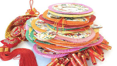 Lot of 21 Vintage Chinese Accordion Paper lanterns New Year faux firecracker