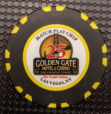 Golden Gate Casino $25 Match Play Chip NCV No Cash Value Black Oversized Vegas