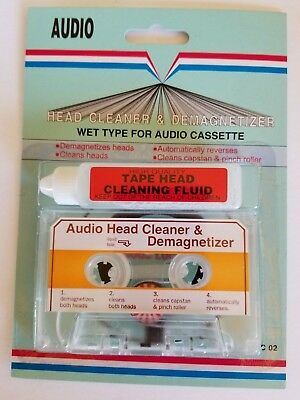 New  Wet Type Head Cleaner + Demagnetizer  For  All  Audio Cassette Players C1