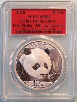 China 2018 10 Yuan Chinese Panda Silver Coin PCGS MS69 First Strike Red Label