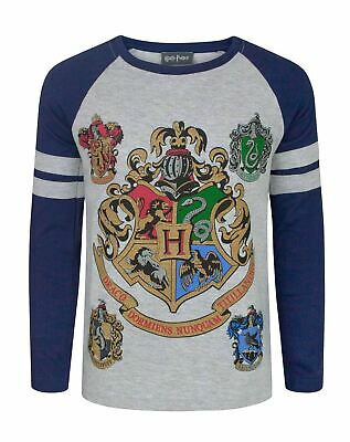 Harry Potter Hogwarts Crest Boy's Raglan 3/4 Sleeve T-Shirt Sizes 5-14 Years