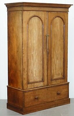 Solid Walnut Double Bank Victorian Wardrobe Lovely Aged Vintage Patina Rare Find