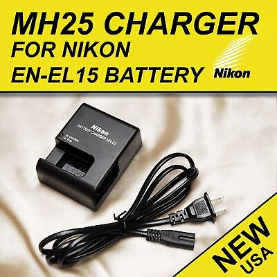 MH-25 Charger for Nikon EN-EL15 Battery V1 D600 D610 D7000 D7100 D7200 D800 D810
