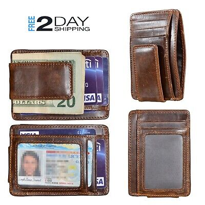 Mens Genuine Leather Money Clip RFID Blocking ID Card Front Pocket Slim Wallet