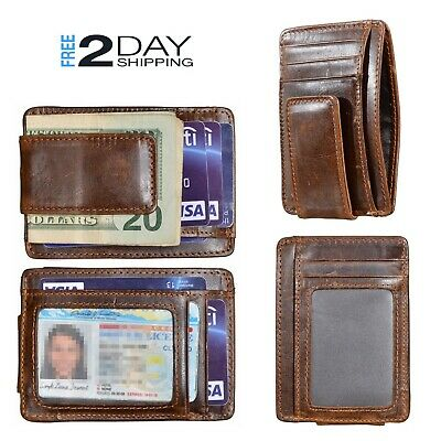 Mens Slim Money Clip Genuine Leather ID Card RFID Blocking Front Pocket Wallet