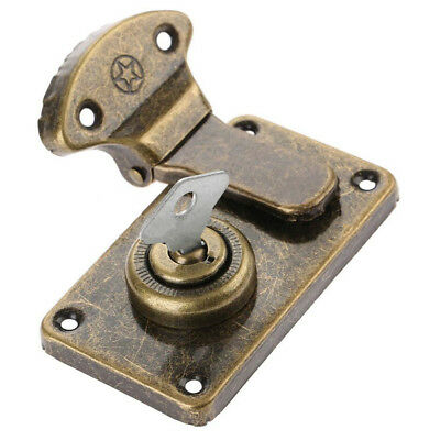 Antique Wooden Box Buckle Vintage Retro Luggage Metal Latch Hasp Lock with Key