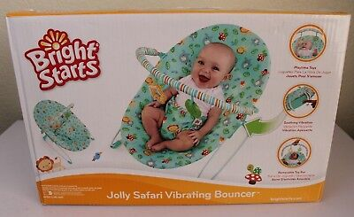 549df3ab6609 BRIGHT STARTS UNISEX Green Jolly Safari Vibrating Bouncer Soothing ...