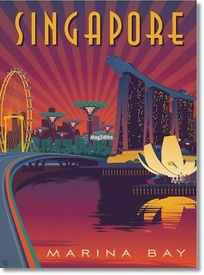 "Retro MARINA BAY ,SINGAPORE Travel Poster Photo Fridge Magnet Size 2""x3"""