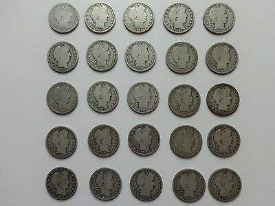 25-Piece Starter Set BARBER HALF DOLLARS ** Different Dates & Mint Marks **