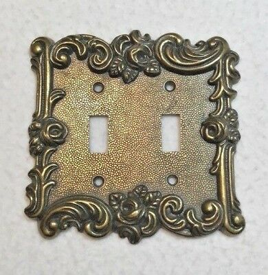 Vintage Brass Amertac Hardware Double Switch Plate Cover Rose 60TT Shabby Chic