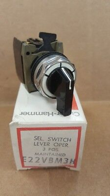 Eaton Cutler Hammer E22VBM3H 3 Position Maintained Selector Switch New Old Stock