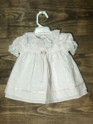 Vintage Pale Pink Layered Lacy Baby Dress JoLene  6-9 Months