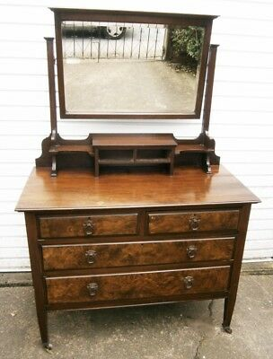 Beautiful Antique Walnut Wood Dressing Table with tilted Mirror brass handles