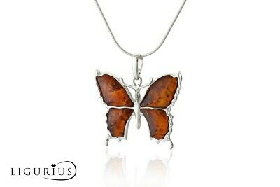 NATURAL BALTIC AMBER STERLING SILVER 925 PENDANT Butterfly NECKLACE Certified