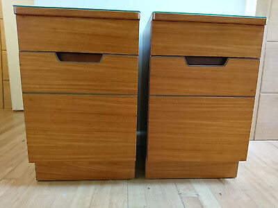 Pair Mid Century 60s Uniflex Bedside Cabinets Tables Walnut Afromosia not Teak