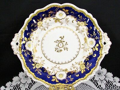 Antique English Cobalt Heavy Floral Gold Gilt Cake Serving Plate