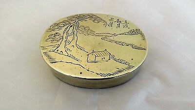 PRETTY ANTIQUE/VINTAGE CHINESE ENGRAVED BRASS INK STONE BOX - character marks
