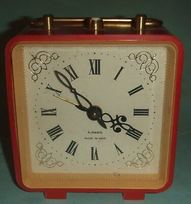 Vintage Made In USSR 4 Jewels Alarm Clock. Plastic Case.