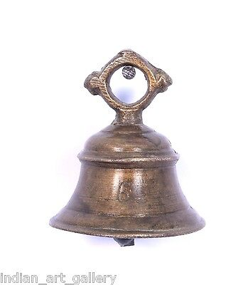 Rare Vintage Handicraft High Age Brass Ritual Temple Bell, Good Sound. i9-42