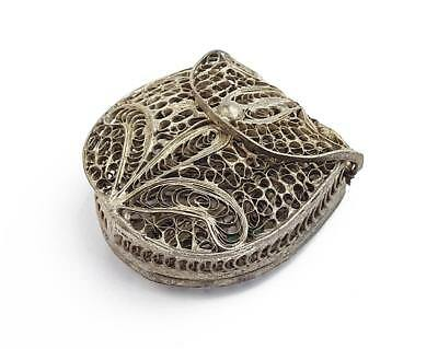 Antique SILVER PLATED Small FILIGREE COIN PURSE c1920 EASTERN MARKET