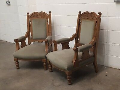 Pair of antique armchairs,green velvet, Victorian, carved oak