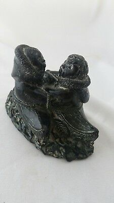 A Wolf Original Inuit Soapstone Carving. Couple Embracing In Kayaks