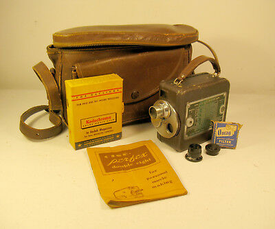 Cine Perfex Double Eight 8mm Movie Camera w/ Carrying Case, Instructions AS IS