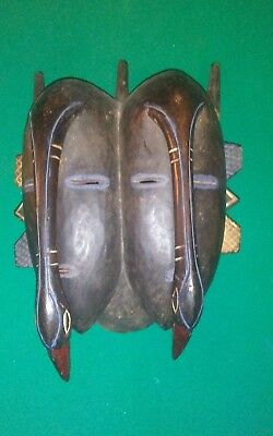 Unique Carved Wooden African Mask Rare Double Bird Face -Nice Authentic Relic