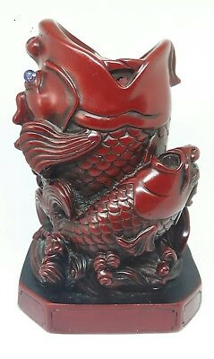 Cinnibar-Red Chinese Resin Fish Brush Pot