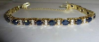 Beautiful 14k Gold Sapphire and Diamond Tennis Bracelet