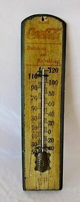 """1915 Coca Cola Soda Pop 21"""" Wood Thermometer Sign Works Antique"""