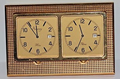 "A High Quality Vintage Asprey's ""here"" ""there""  Heavy Brass Clock"