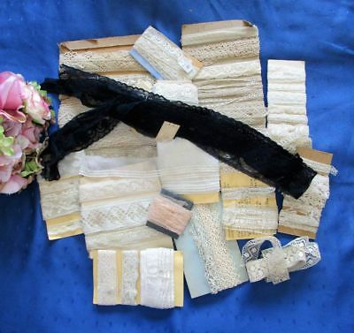 Large Antique Lot Of Cotton Lace Lengths~Many Yards~Edging~Trim~Insertion