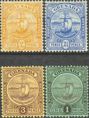 1906-11 Grenada #70-2 & 74 Mint Hinged Seal of the Colony Stamps (4)