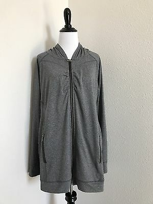 $79 Jessica Simpson Maternity Zip Front Hoodie Jacket sz Large Quick Dry Gray