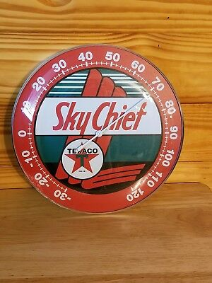 Sky Chief Texaco Licensed Advertising Round Thermometer