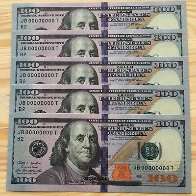 50 Pcs Super Hot Quality Usa 100's Invalid Real Color Game Us $5000 Paper Money