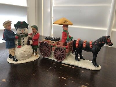 Coca Cola Vintage 1992 Town Square Collection Horse Drawn Wagon- Thirsty snowman