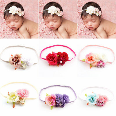 Kids Girl Baby Headband Flower Hair Band Elastic Headwear Photo Prop Accessories