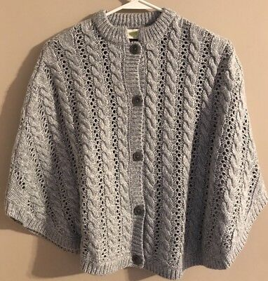 Girls Shawl Knit Cape Cloak Size Large 10/12