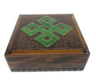 Celtic Knot Design Wood Trinket Box Decorative Hinged Jewelry Box Handcrafted