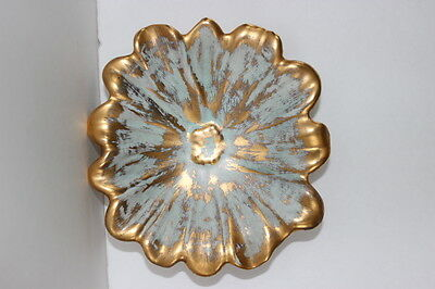 Vintage Mid Century Hand Painted Stangl Pottery Granada Gold Flower Dish 4033