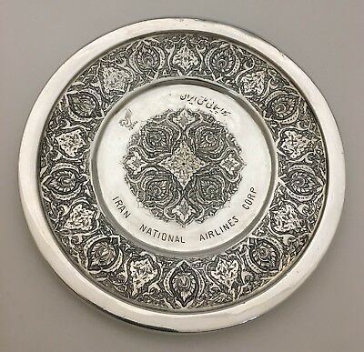 """""""Tehran"""" National Airlines Corp Persian Silver Calling Card Tray Dish Charger"""