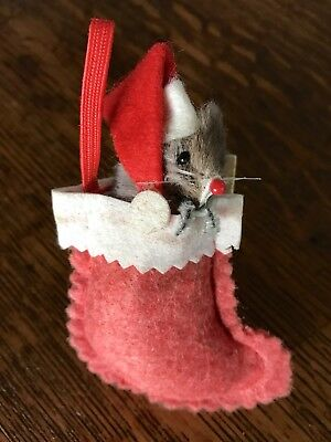 Vintage Original Real Fur Toy Christmas Santa Mouse in Stocking Ornament Germany