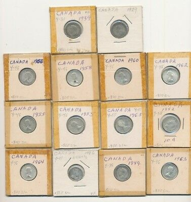 Lot Of (14) Mixed Year Canada 80% Silver Dimes Exact Shown - Free Shipping